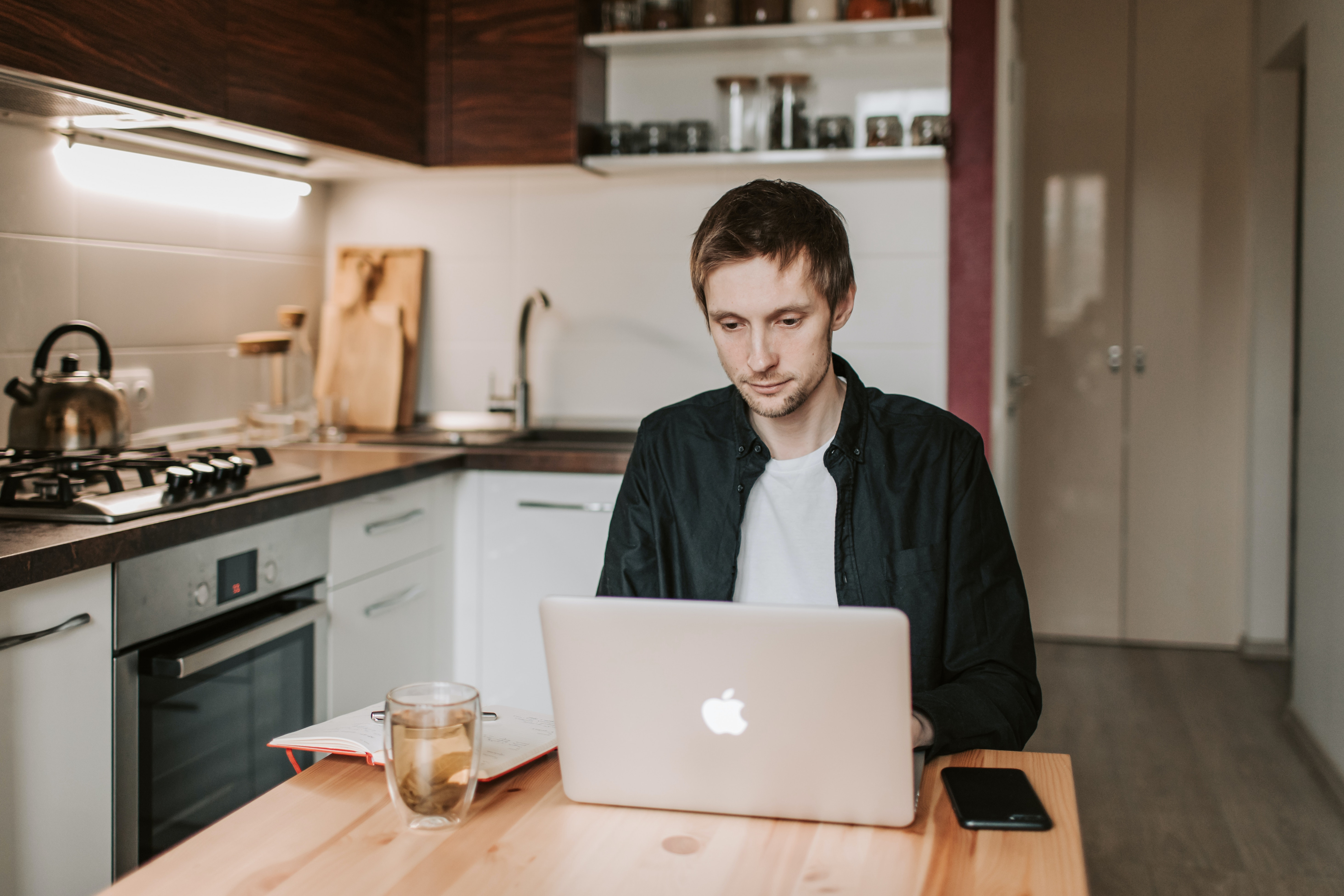 life tips remote work from home kitchen laptop